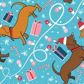 Christmas Weenie Dog Blue