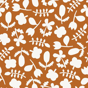 Folk Floral Cut Outs | Rust