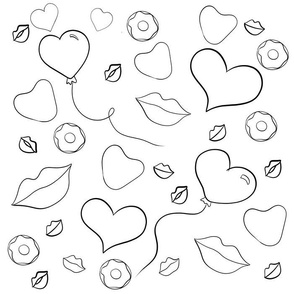 Kisses and Candy Coloring Book Black and White
