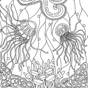 Octopus and Jellies Black and White Coloring
