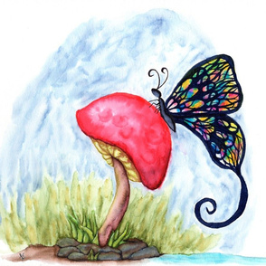 Butterfly on a Mushroom
