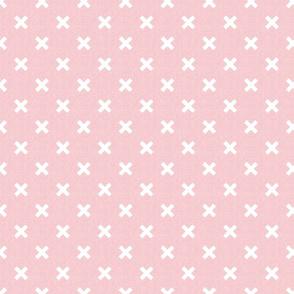 pink linen small crosses