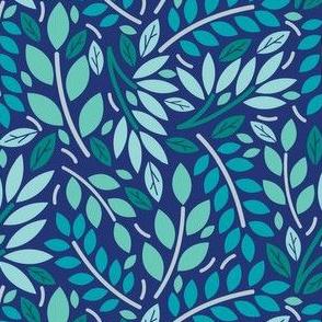 Geometric Botanicals Cobalt Blue