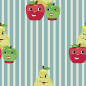Kitsch Fruit Faces and Blue Pinking Stripe