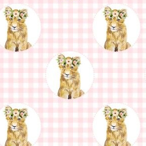 "4"" Floral Girl Cub with Pink Gingham"