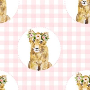 "8"" Floral Girl Cub with Pink Gingham"