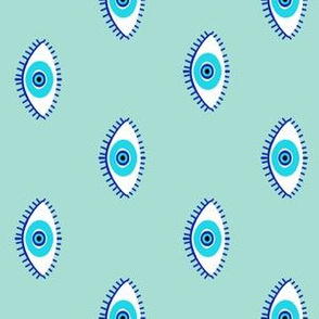evil eye - blue eyes fabric, nazar, blue eyes, turkey fabric - mint