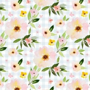 "4"" Pink Pastel Watercolor Florals in Blue Gingham"