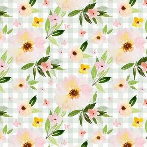 "4"" Pink Pastel Watercolor Florals in Light Green Gingham"