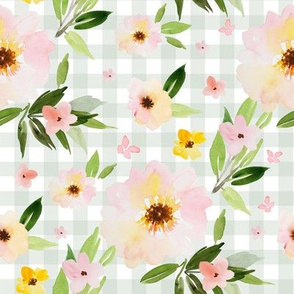 "8"" Pink Pastel Watercolor Florals in Light Green Gingham"