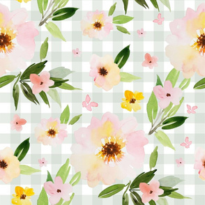 "18"" Pink Pastel Watercolor Florals in Light Green Gingham"