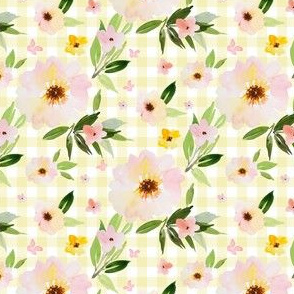 "4"" Pink Pastel Watercolor Florals in Light Yellow Gingham"