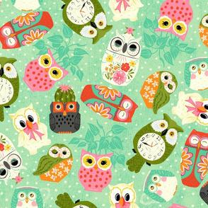Vintage Kitsch Owls  Green, Pink, Orange