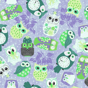 Vintage Kitsch Owls in Purple and Green
