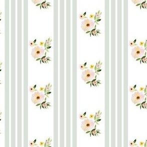 "4"" Spring Florals with Green Ticking"