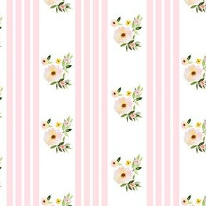 "4"" Spring Florals with Pink Ticking"