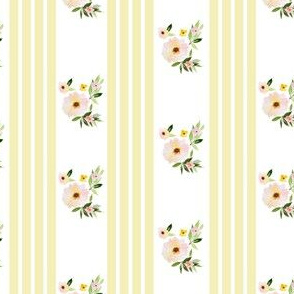 "4"" Spring Florals with Yellow Ticking"