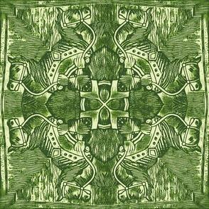 Oakstone Etched Horses- Celadon Tiles