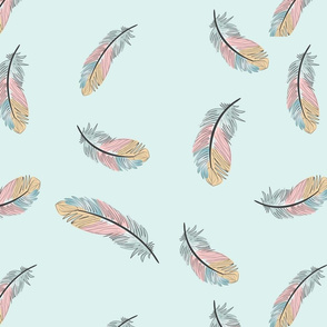 Spring Colored Feathers on Light Blue