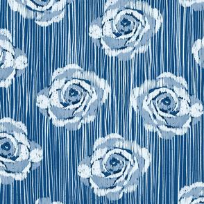 Classic blue textured floral stripe