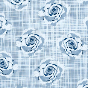 Washed check with ikat roses floral