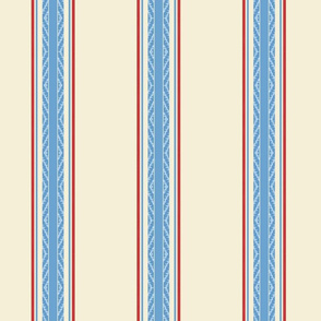 Modern French Ticking Stripe-Farmhouse Red/off white -Med -Large Feedsack Med blue, red accent stripe on Tea Tan