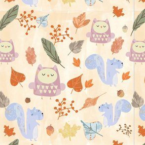 Forest Animals and Leaves Design