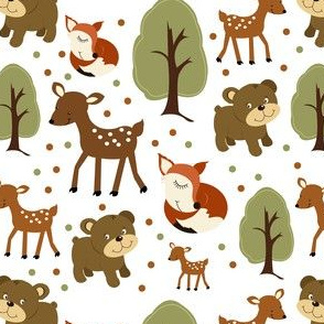 Woodland Animals White