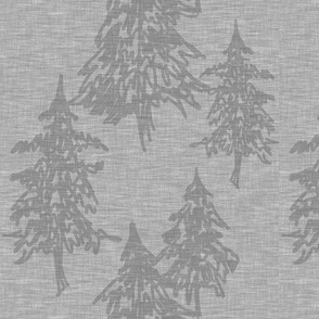 Evergreen Trees - soft grey (farm collection)