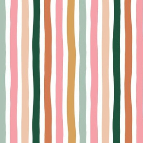 Little moody stripes basic minimal strokes spring summer green rust ochre pink girls
