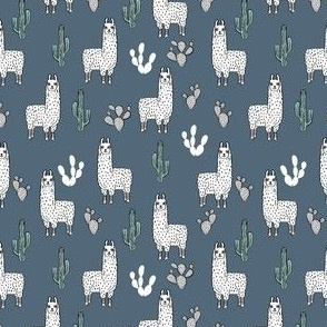 SMALLER - llama fabric // cute llama, cactus, nursery, baby, trendy animals, andrea lauren design fabric - blue