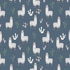 SMALLER - llama fabric // cute llama, cactus, nursery, baby, trendy animals, andrea lauren design fabric - blue
