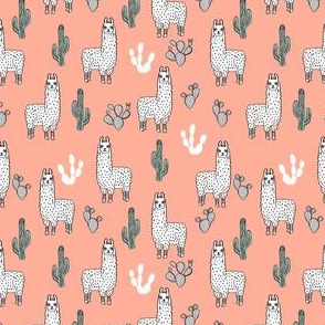 SMALLER - llama fabric // cute llama, cactus, nursery, baby, trendy animals, andrea lauren design fabric - peach