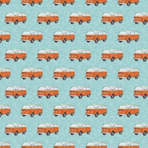 (small scale) Retro Camper Bus - vintage car - orange on blue - LAD20BS