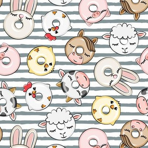 Farm Animal Donuts -  stripes - cow, pig, chicken, lamb, bunny, rooster doughnuts - LAD20