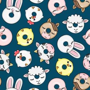 Farm Animal Donuts - dark blue - cow, pig, chicken, lamb, bunny, rooster doughnuts - LAD20