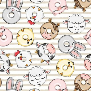 Farm Animal Donuts - beige stripes - cow, pig, chicken, lamb, bunny, rooster doughnuts - LAD20