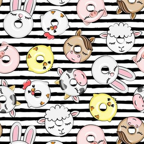 Farm Animal Donuts - black stripes - cow, chicken, lamb, bunny, rooster doughnuts - LAD20