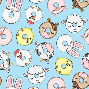 Farm Animal Donuts - light blue - cow, chicken, lamb, bunny, rooster doughnuts - LAD20