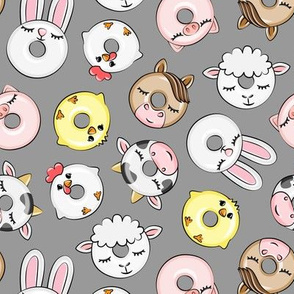 Farm Animal Donuts - grey - cow, chicken, lamb, bunny, rooster doughnuts - LAD20