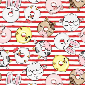 Farm Animal Donuts - red stripes - cow, chicken, lamb, bunny, rooster doughnuts - LAD20