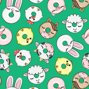 Farm Animal Donuts - green - cow, chicken, lamb, bunny, rooster doughnuts - LAD20
