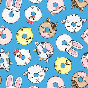 Farm Animal Donuts - Blue - cow, chicken, lamb, bunny, rooster doughnuts - LAD20