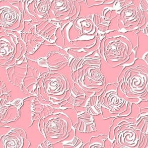 Roses papercut lace on pink, small size