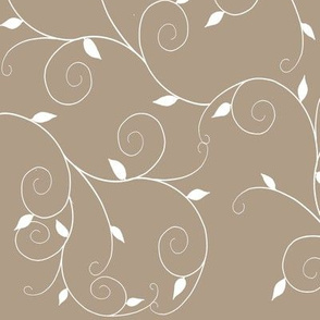 Curly Vines Leaves-Taupe