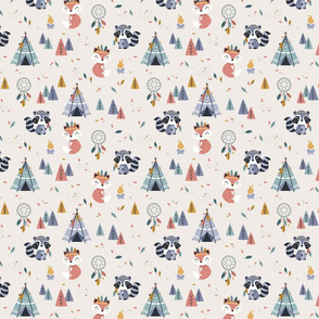 Colors of the wind - woodland fox raccoon - beige small