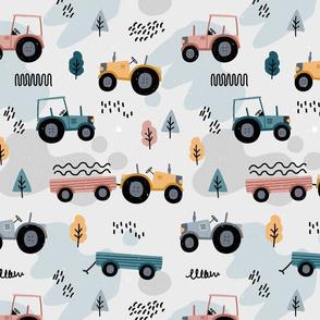Doodle tractor - grey neutral - big