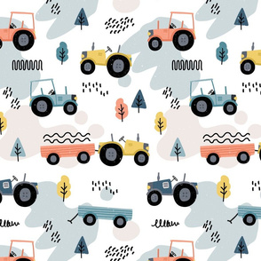 Doodle tractor - orange blue - big