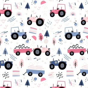 Abstract tractor - girl pink blue - BIG