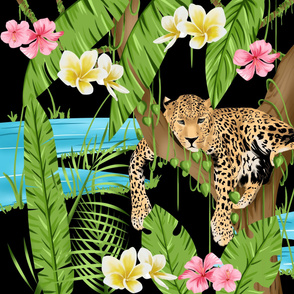 jaguar and tropical plants and flower pattern